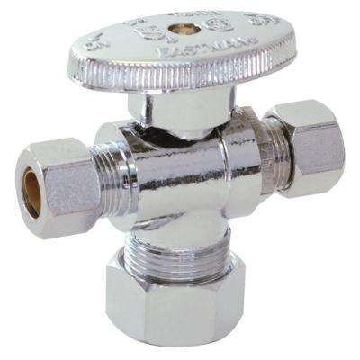 5/8 in. Compression x 3/8 in. Compression x 1/4 in. Compression Brass 1/4 Turn Dual Outlet Stop Valve