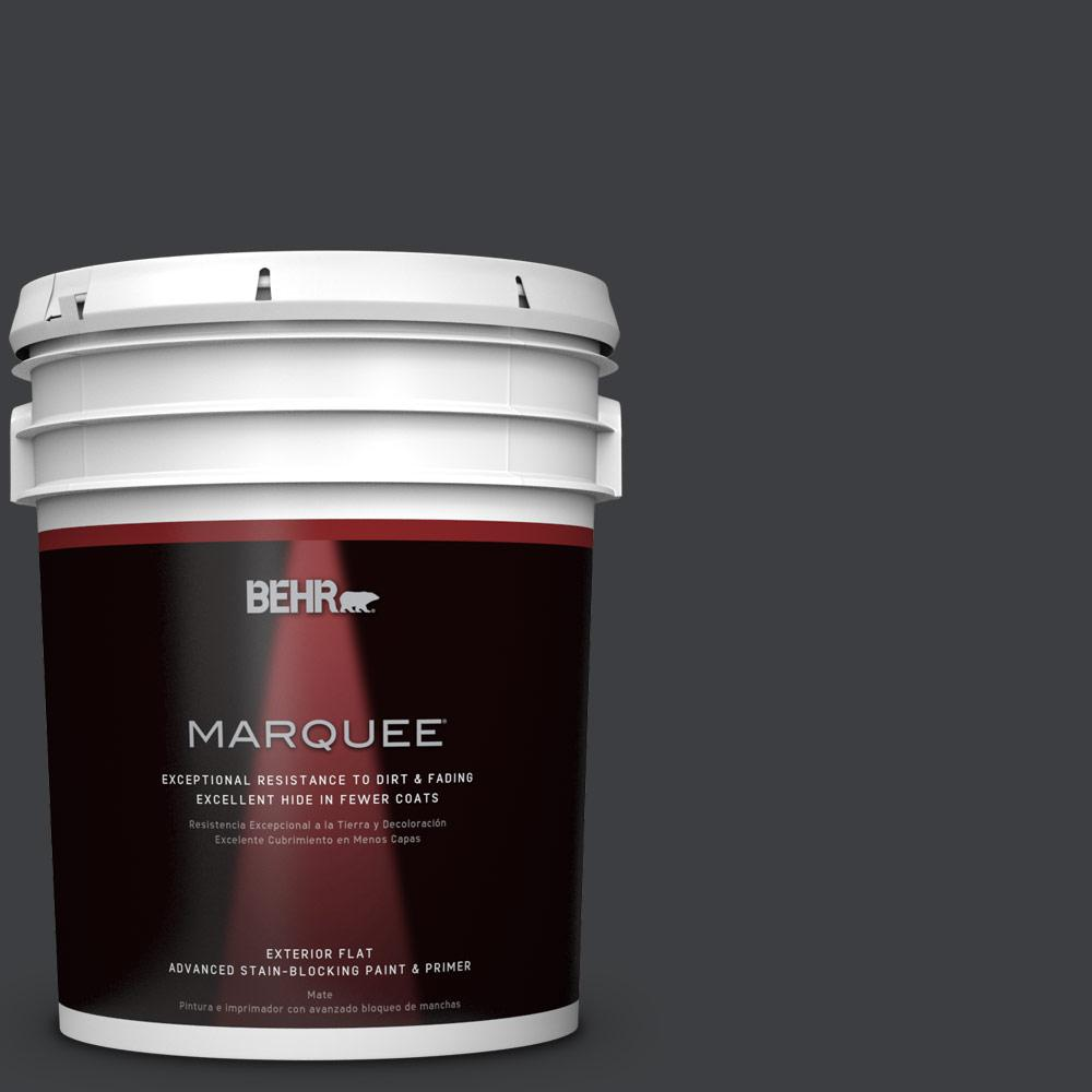 BEHR MARQUEE 5 gal. #N520-7 Carbon Flat Exterior Paint and Primer in One