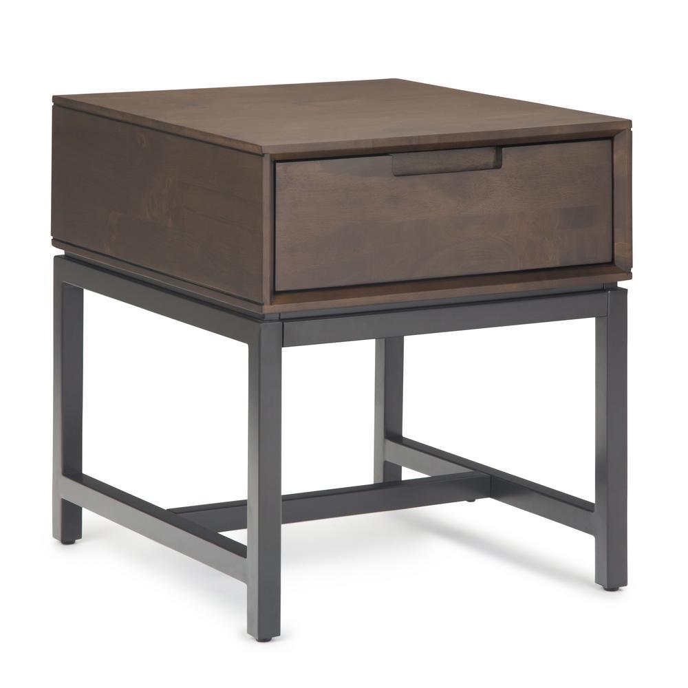 Banting solid hardwood and metal 20 in wide modern industrial end table in walnut brown