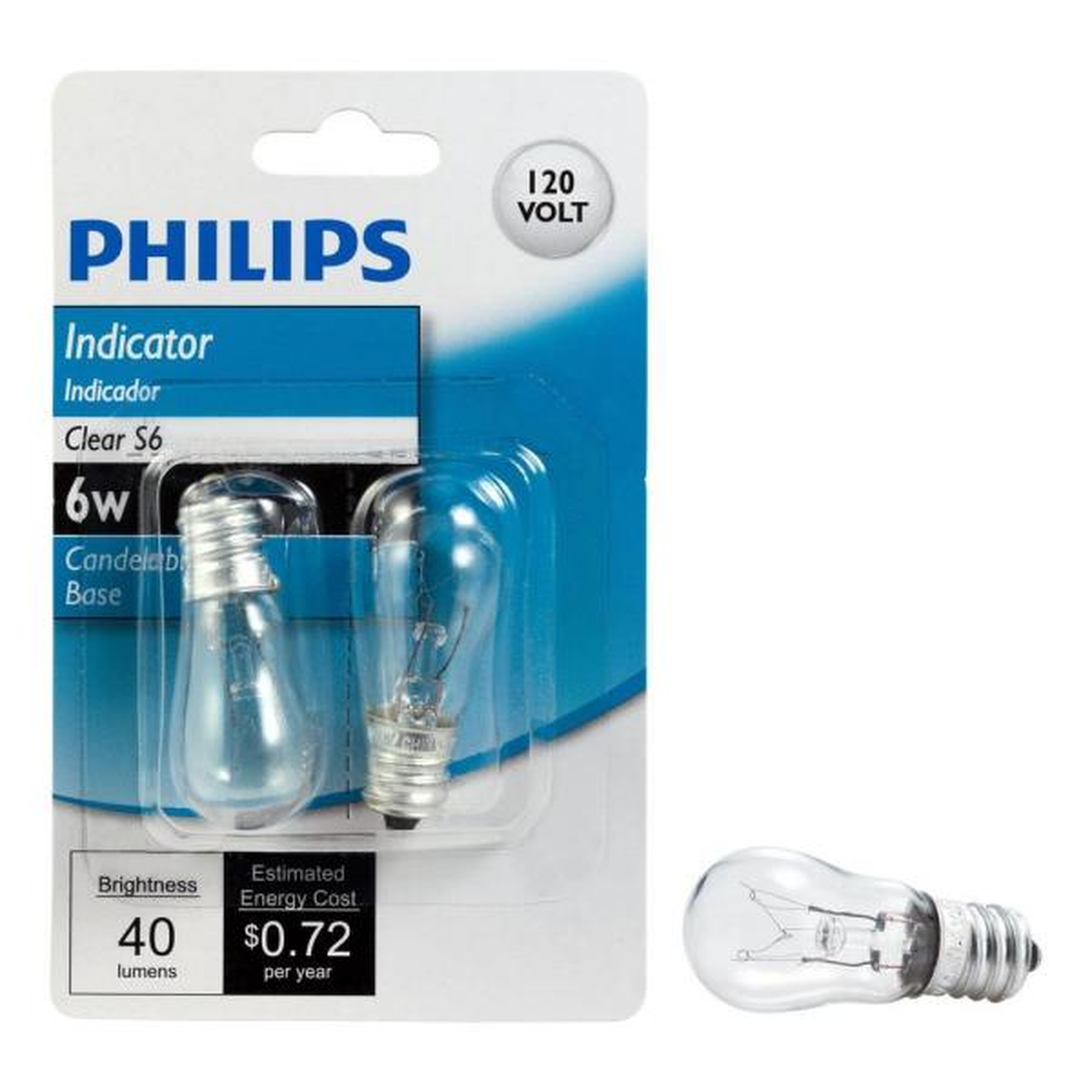 Philips 6 Watt S6 Incandescent Candelabra Base Indicator Light Bulb 2 Pack 416693 The Home Depot