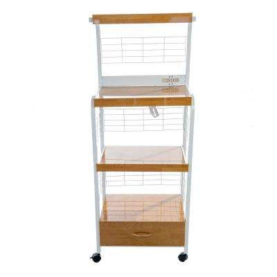Gerard White Metal and Beech 3-helf Microwave Cart with Lower Drawer