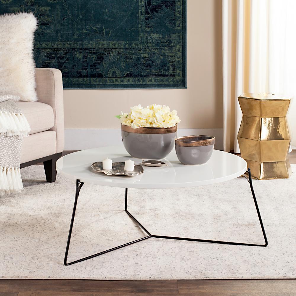 Mae Retro Mid Century Lacquer White Coffee Table. White/Black; Light ...
