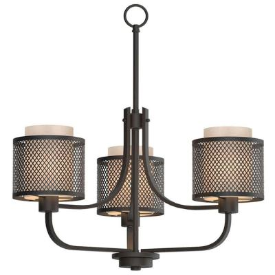 Summit Collection 3-Light Bronze Mesh Chandelier with Inner Cream Fabric Shade