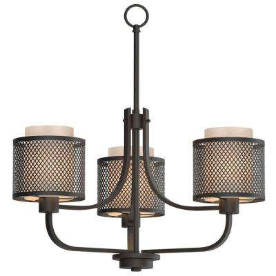 3-Light Bronze Mesh Chandelier with Inner Cream Fabric Shade