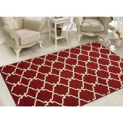 Clifton Collection Moroccan Trellis Design Red 8 ft. x 10 ft. Area Rug