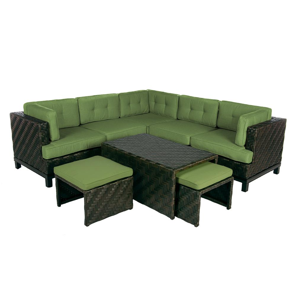 Rachel 8-Piece Wicker Patio Sectional Seating Set with Spectrum-Cilantro Cushions