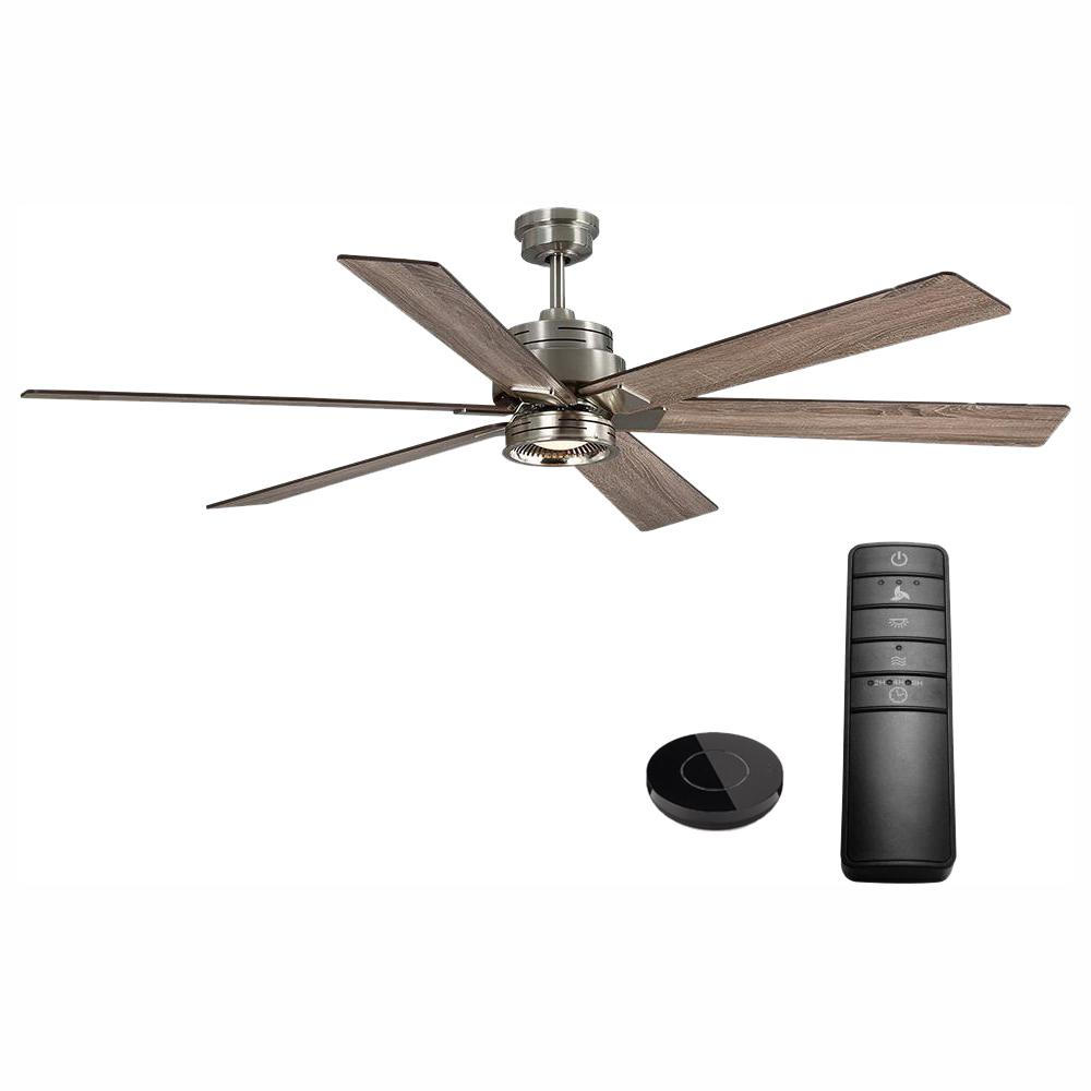 Home Decorators Collection Statewood 70 in. LED Brushed Nickel Ceiling Fan with Light Kit Works with Google Assistant and Alexa