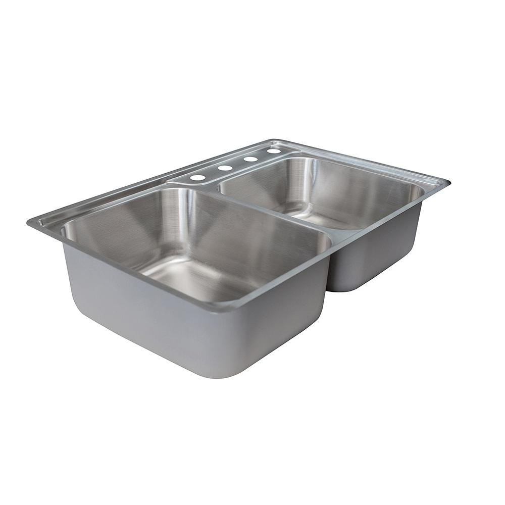 Exceptionnel Franke Evolution Drop In Stainless Steel 34 In. 4 Hole Offset Double Bowl