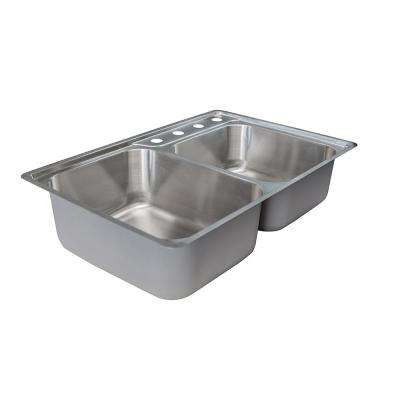 Evolution Drop-In Stainless Steel 34 in. 4-hole Offset Double Bowl Kitchen Sink