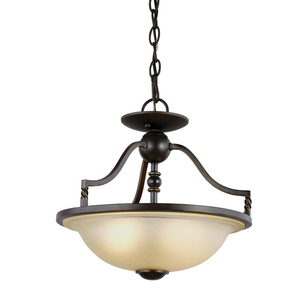 Sea Gull Lighting Trempealeau 2-Light Roman Bronze Semi-Flushmount Convertible Pendant with LED Bulbs