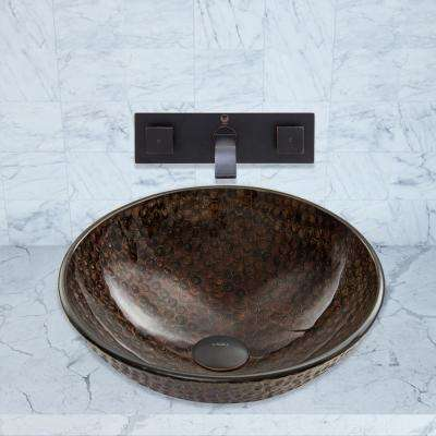 Glass Vessel Sink in Copper Shield with Titus Wall-Mount Faucet Set in Antique Rubbed Bronze