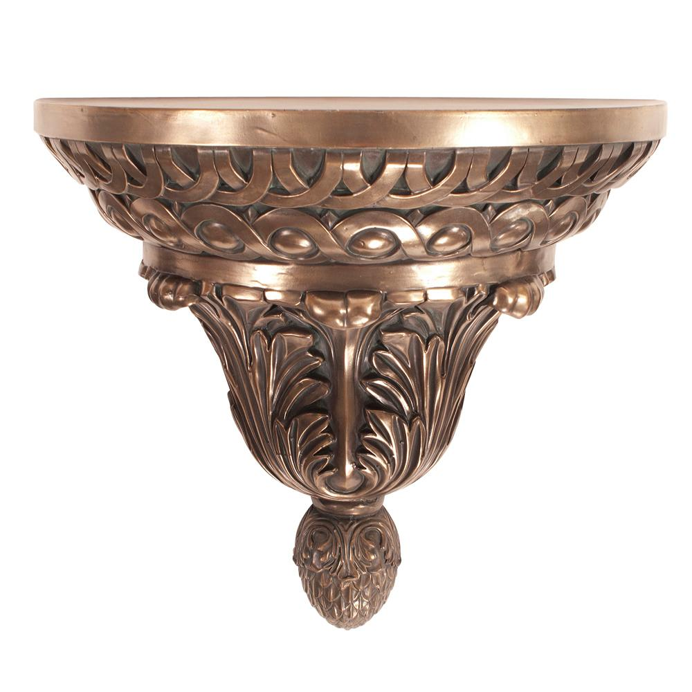 Ornate Bronze Round Wall Shelf-91007 - The Home Depot
