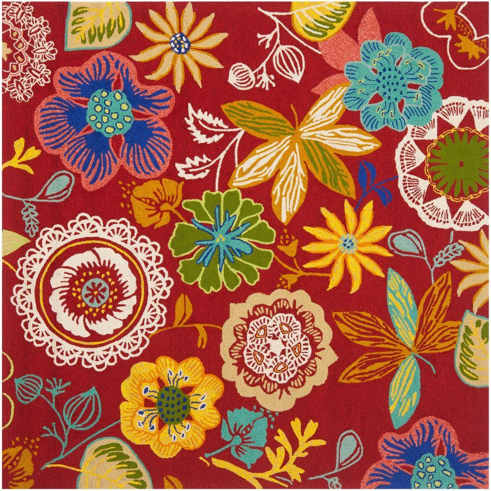 Safavieh Four Seasons Red/Multi 6 ft. x 6 ft. Square Indoor ...