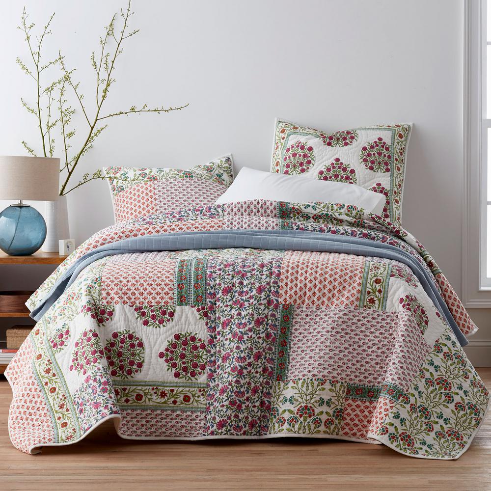 Floral Patch Cotton Twin Quilt
