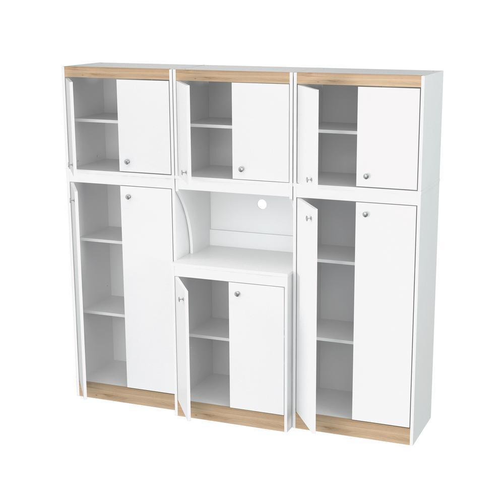 Inval 70.86 in. W x 66.93 in. H x 14.49 in. D Kitchen Storage Utility  Cabinet in White and Vienes Oak (3-Piece)
