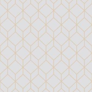 Myrtle Geo Grey And Rose Gold Removable Wallpaper Sample