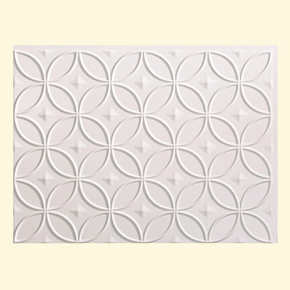 24 in. x 18 in. Rings PVC Decorative Backsplash Panel in Gloss White