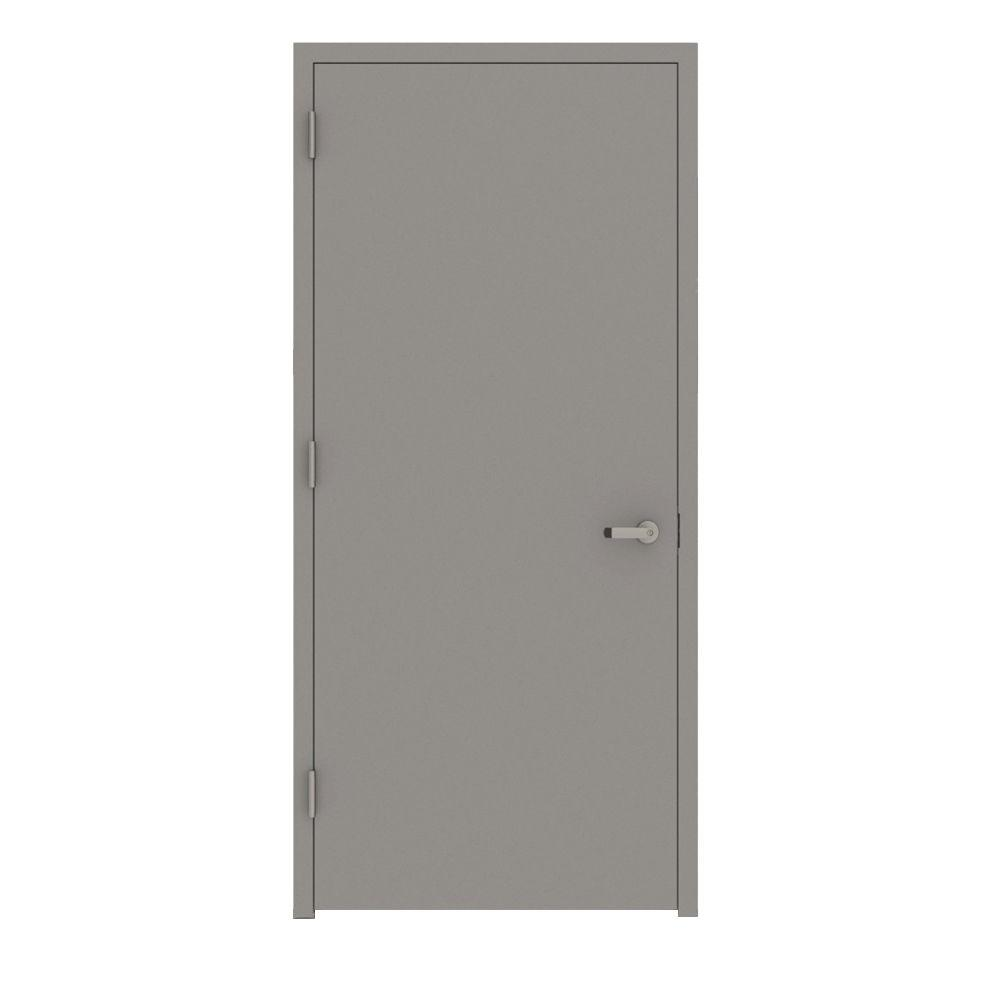 32 in. x 80 in. Gray Flush Right-Hand Fire Proof Steel