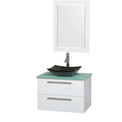 Amare 30 in. Vanity in Glossy White with Glass Vanity Top in Green, Granite Sink and 24 in. Mirror