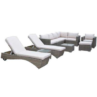 Borneo Modular 11 Piece Wicker Patio Sectional Seating Set With Oatmeal Cushions