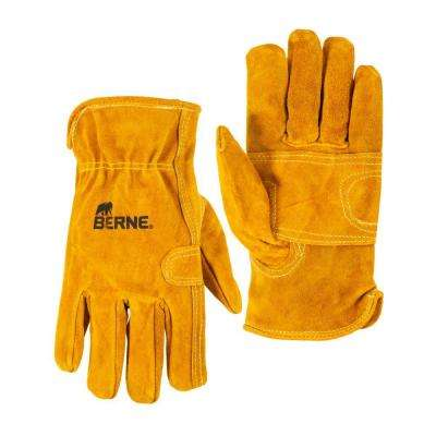 Large Gold Classic Leather Work Gloves (1-Pack)