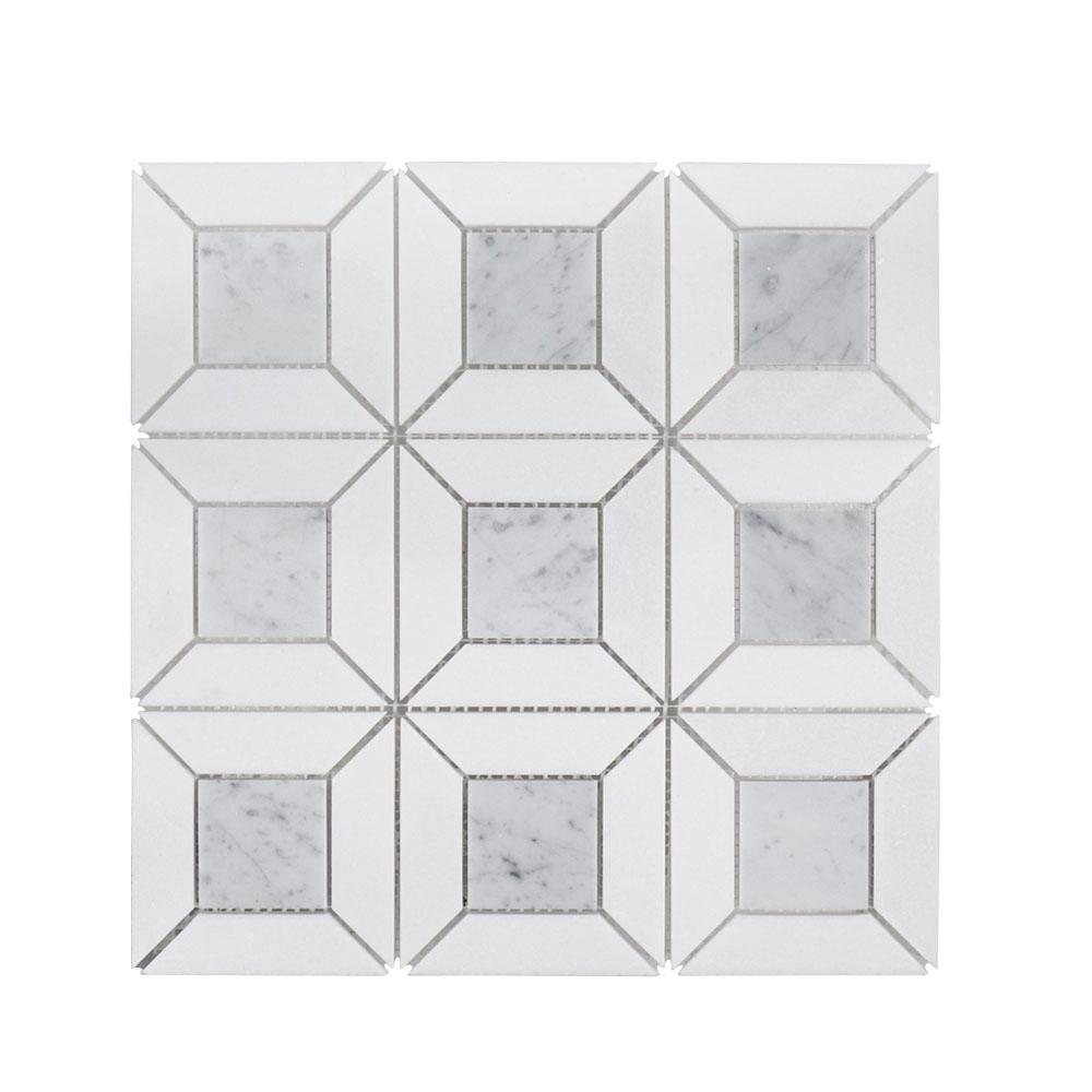 Jeff Lewis Doheny Thassos Gray Basket Weave 12 in. x 12 in. x 10 mm Marble Mosaic Wall Floor and Wall Tile