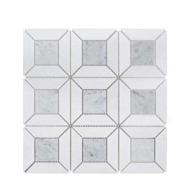 Doheny Thassos 12 in. x 12 in. x 10 mm Stone Mosaic Wall Tile
