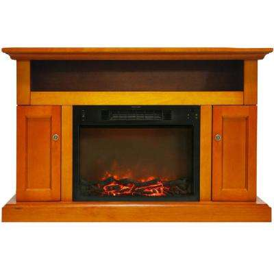 Kingsford 47 in. Electric Fireplace with 1500-Watt Log Insert and Entertainment Stand in Teak