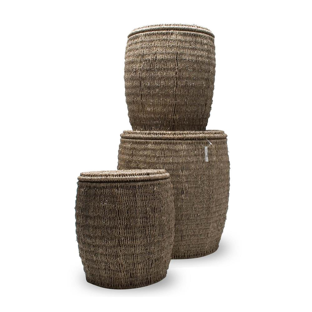 Tag Seagrass Storage Ottoman Baskets With Lids Set Of 3