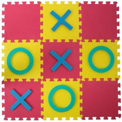 Multi-Colored 36 in. x 36 in. x 0.325 in. Giant Interlocking Foam Square Tic-Tac-Toe Game