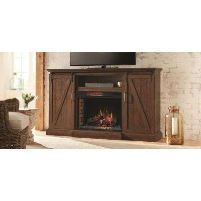 Chestnut Hill 68 in TV Stand Electric Fireplace with Sliding Barn Door in Rustic Brown