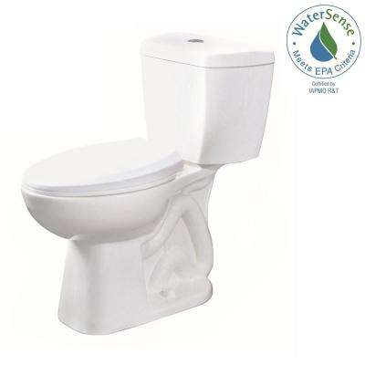 2-piece 0.8 GPF Ultra-High-Efficiency Single Flush Elongated Toilet Featuring Stealth Technology in White