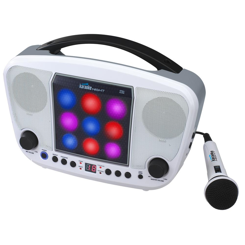 Cd+g Karaoke Machine with LED Light Show, White