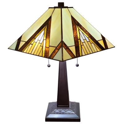 Tiffany 22 in. Brown and Tan Table Lamp with Stained Glass Shade