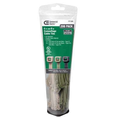 4 in. and 8 in. Garden Cable Tie Tube - Camouflage (200-Pack)
