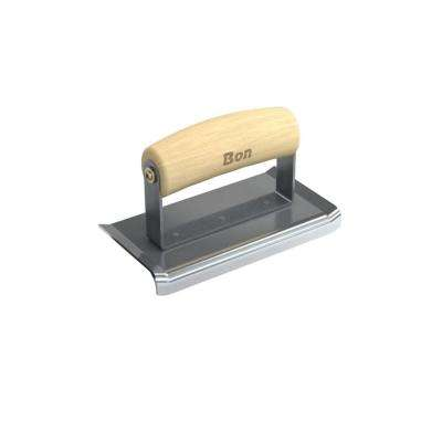 6 in. x 3 in. Curved End Concrete Edger with Wood Wave Handle