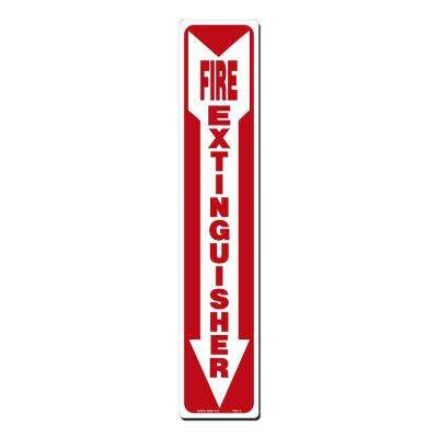 4 in. x 20 in. Fire Extinguisher with Arrow Down Sign Printed on More Durable, Thicker, Longer Lasting Styrene Plastic