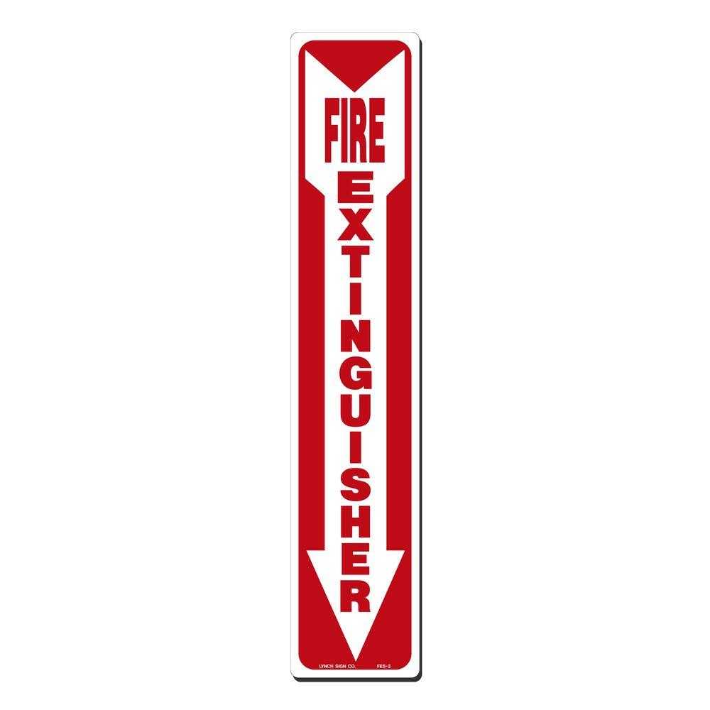4 in. x 20 in. Decal Red on White Sticker Fire Extinguisher with Arrow Down, White With Red Lettering
