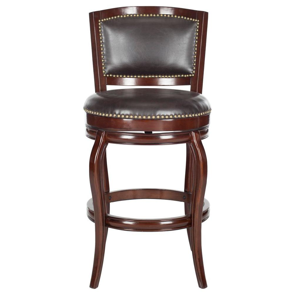 Pasquale 29 in. Sierra Brown Swivel Cushioned Bar Stool