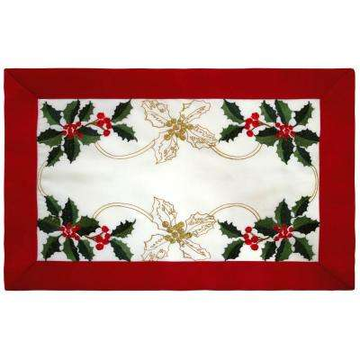 Holiday Embroidered Holly Berries 13 in. x 19 in. x 0.2 in. Cloth Place Mats with Red Trim Border (4-Set)