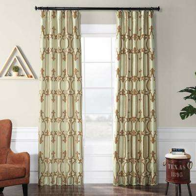 Royal Gate Sage Green and Amber Flocked Faux Silk Curtain - 50 in. W x 120 in. L