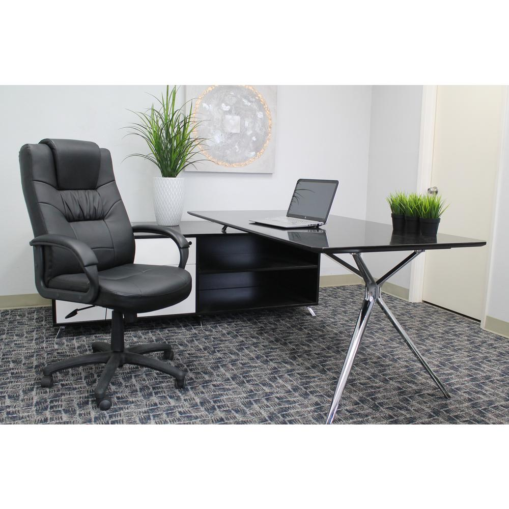 Boss Black Leatherplus Executive Chair-B7501