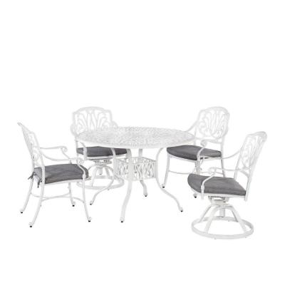 Capri White 48 in. 5-Piece Cast Aluminum Round Outdoor Dining Set with Gray Cushions