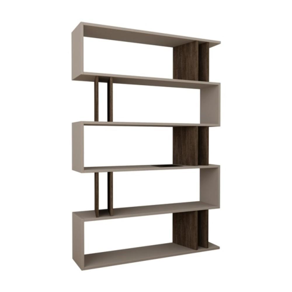 Berwyn Light Mocha and Dark Brown Mid-Century Modern Bookcase