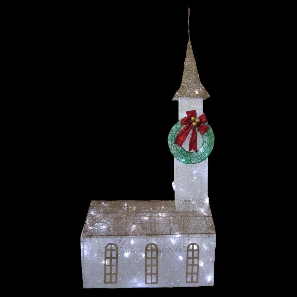 Home accents holiday 6 ft pre lit twinkling church ty372 for 3 d lighted christmas pig holiday outdoor decoration