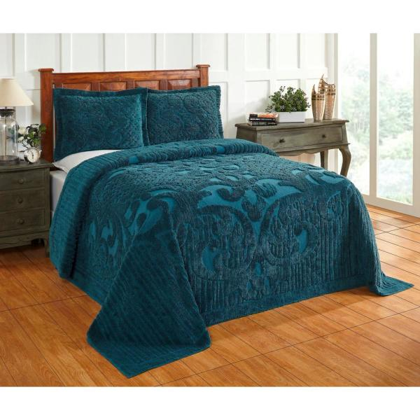 Better Trends Ashton 120 in. x 110 in. Teal King Bedspread