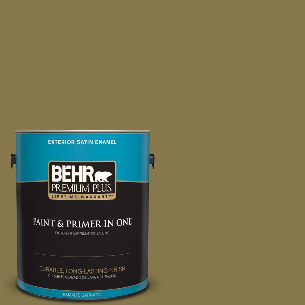 1-gal. #M330-7 Green Tea Leaf Satin Enamel Exterior Paint