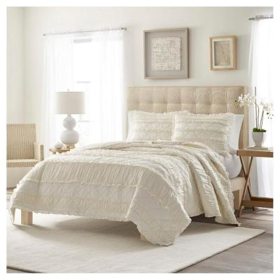 Solid Ruffle White 2-Piece King Quilt Set