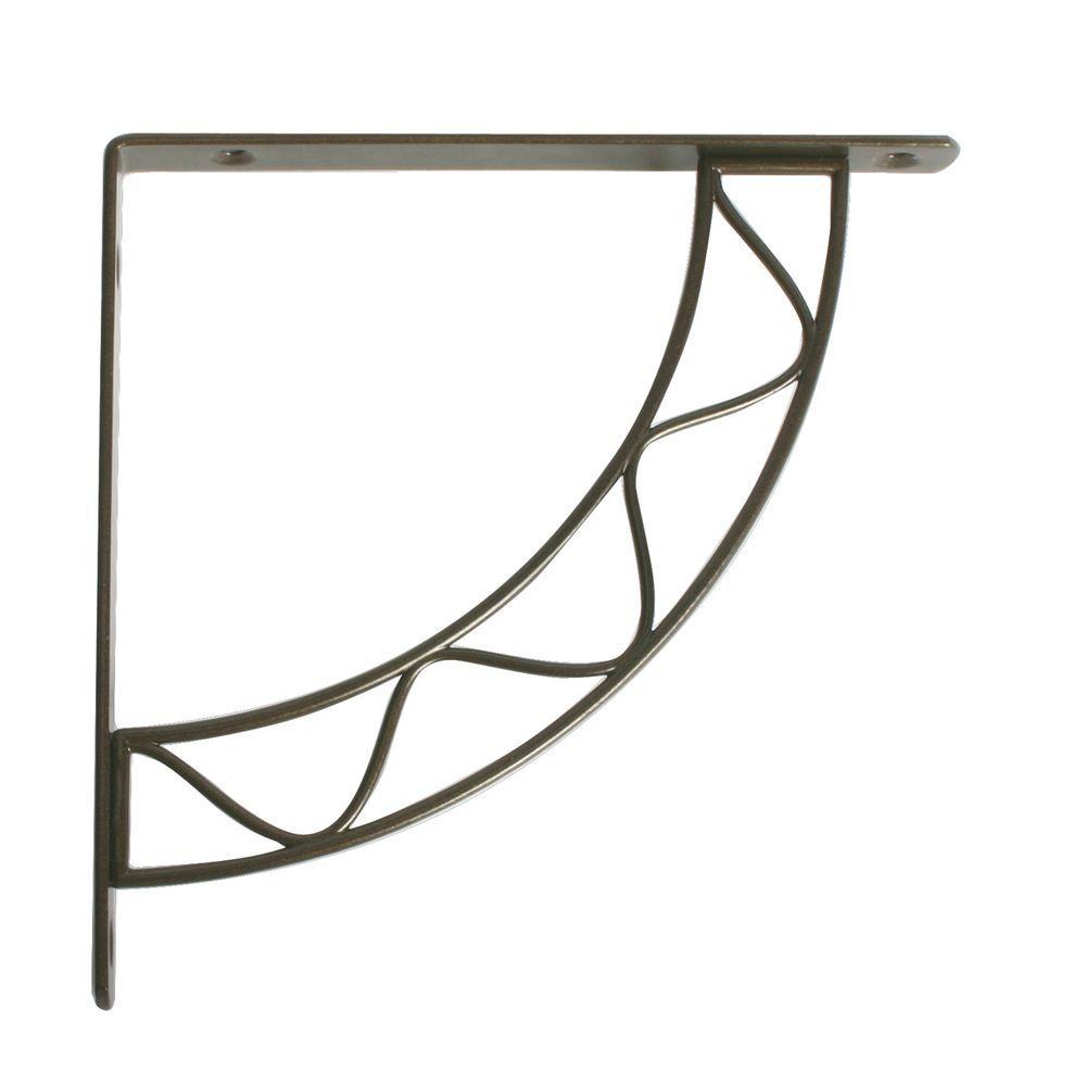 Knape & Vogt Stockton 5.75 in. L x 0.75 in. W Antique Bronze 100 lb. Decorative Shelf Bracket