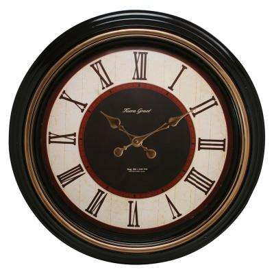Everett 20 in. Wall Clock 2 in. D - Black with Brushed Copper Bezel